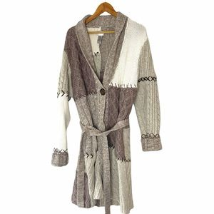 Chico's Chunky Knit Patchwork Sweater Duster Coat